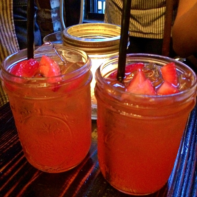 Jam Jar- house infused strawberry farmer's gin with fresh squeezed lemonade