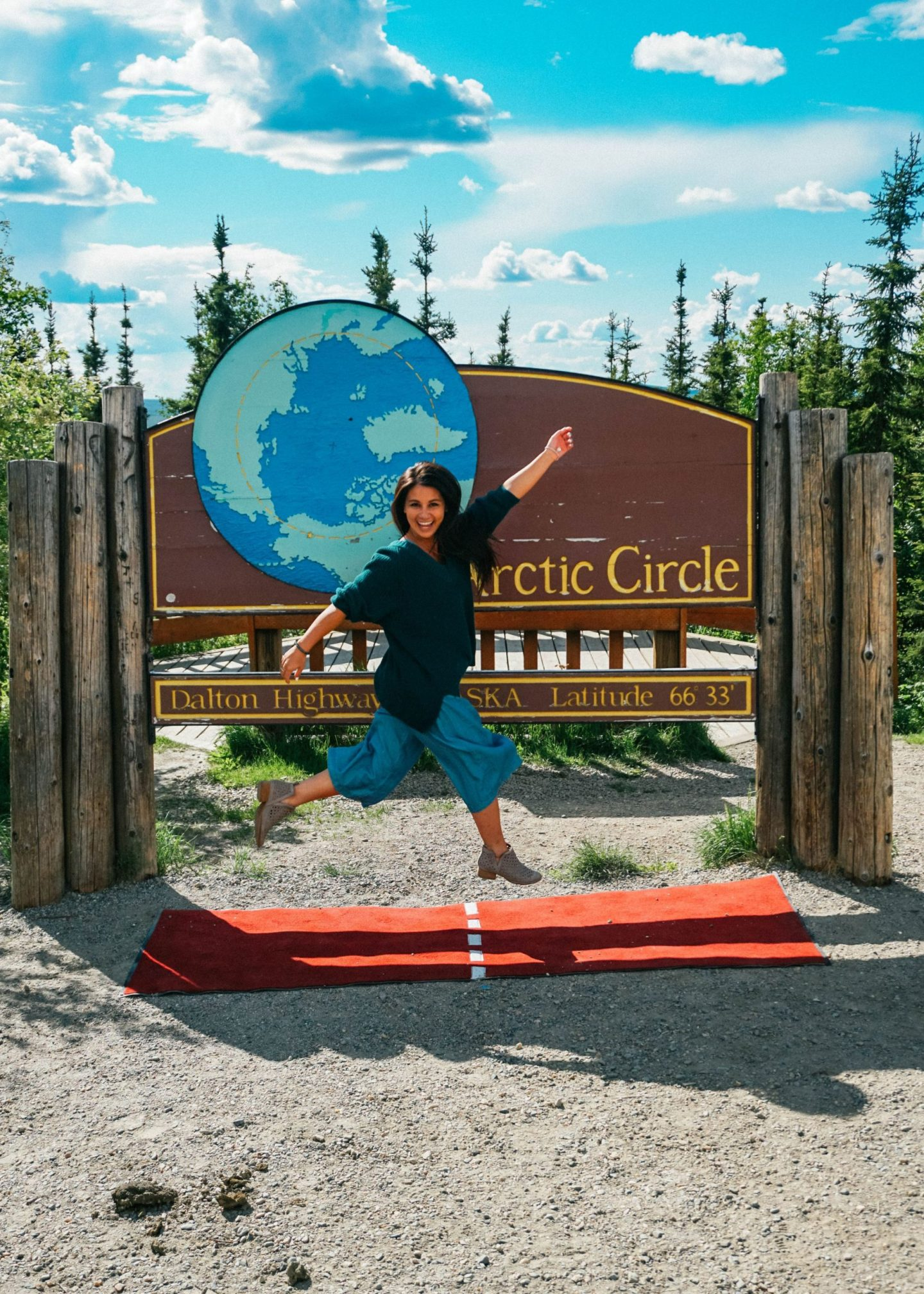 Crossing the Arctic Circle in Fairbanks. Alaska.