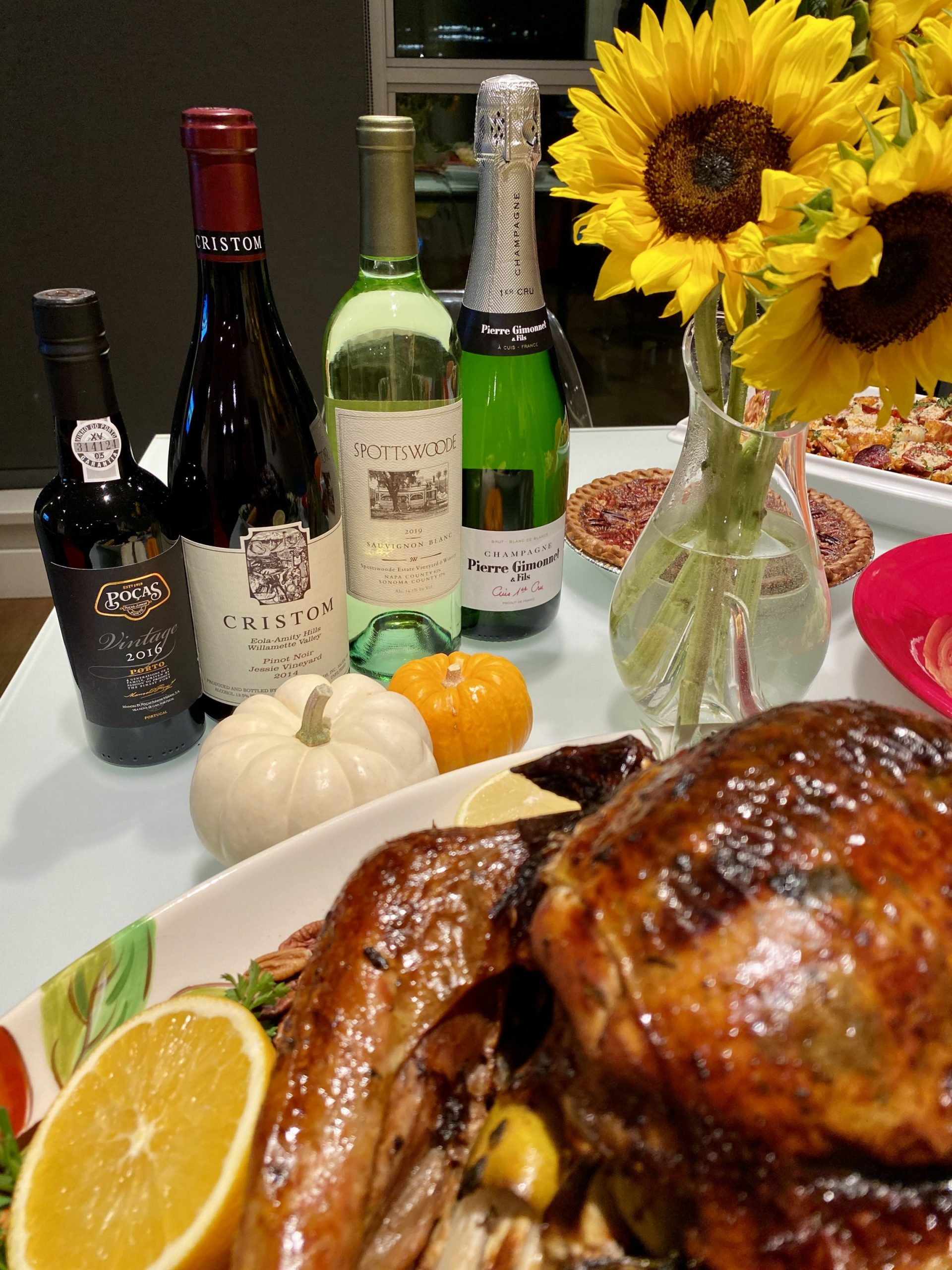 A selection of Thanksgiving wines.