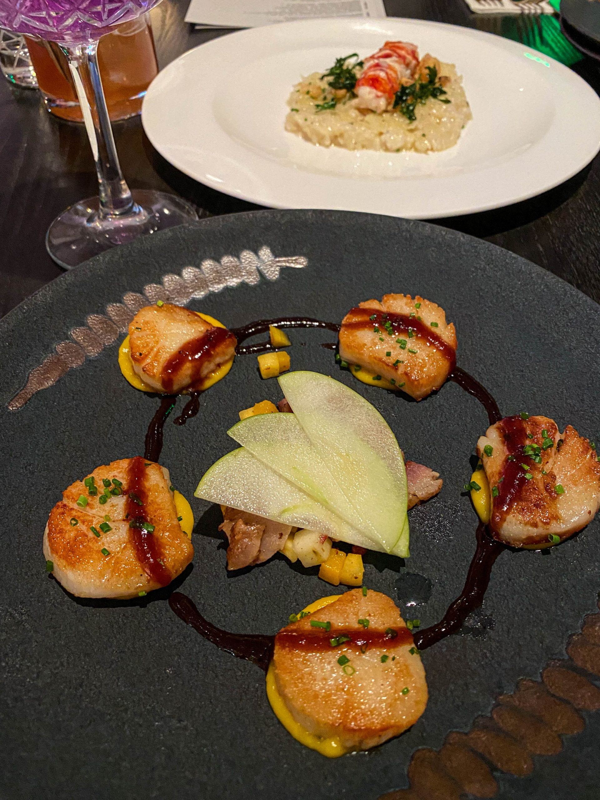 Pan-Seared Scallops with butternut squash puree, braised bacon lardons, pickled green apples