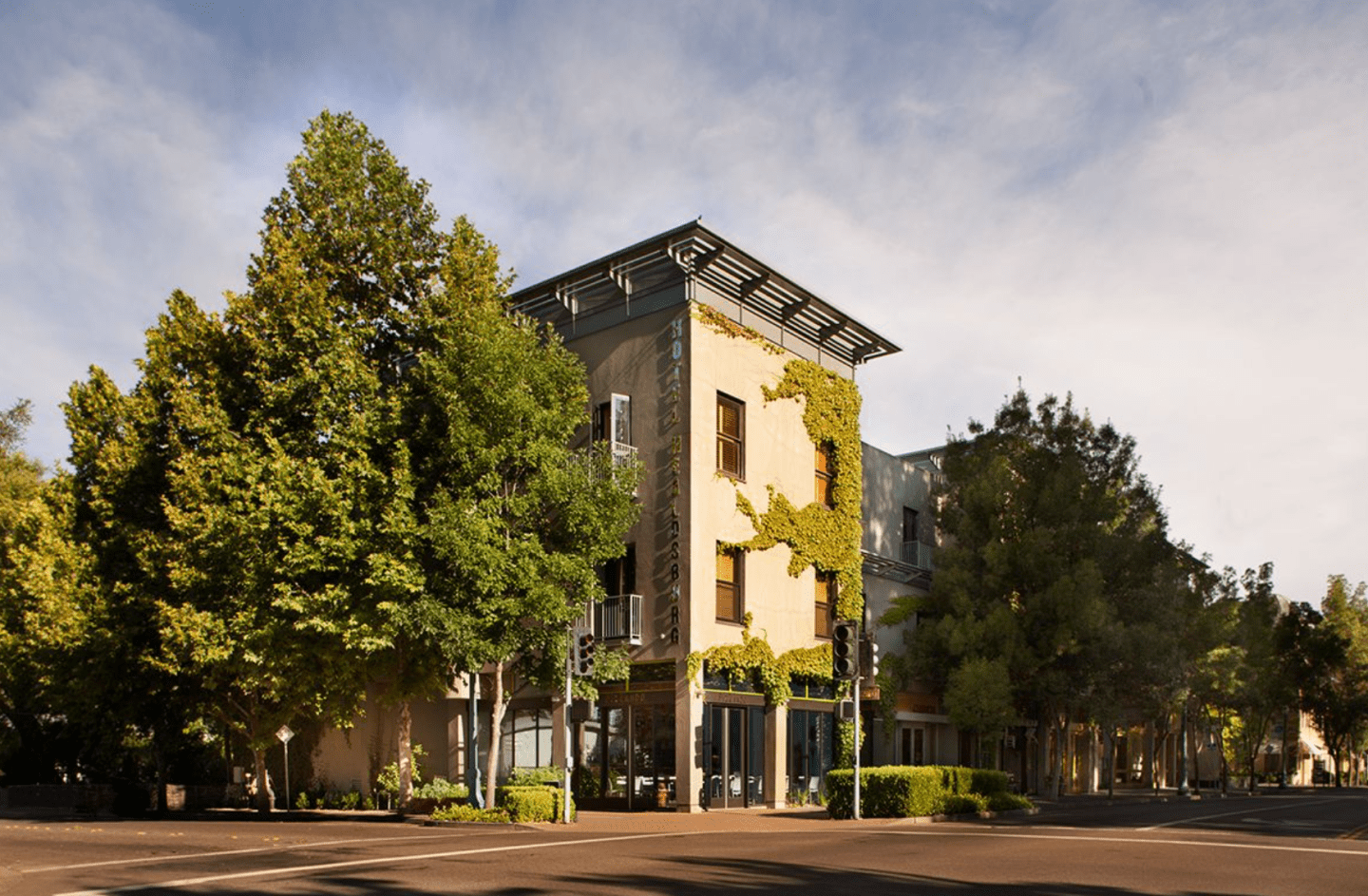 The front of Hotel Healdsburg in downtown Healdsburg.