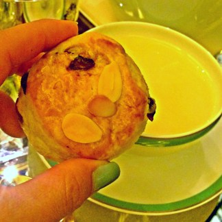 [Fresh scones with Double Devonshire Cream, Lemon Curd, Preserves]