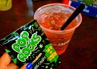 This is just how I like my liquor! With popping sour candy :)