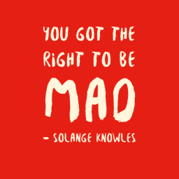 Image: Red background with beige text reading: You got the right to be mad - Solange Knowles