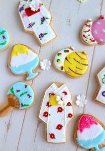 ゆかたアイシングクッキー, 夏のアイシングクッキーレッスン, 浴衣レッスン, 夏レッスン