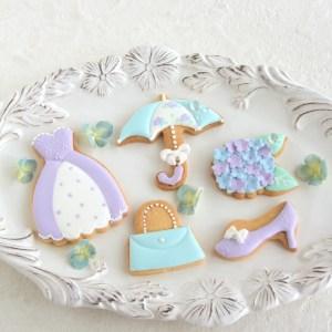 アイシングクッキー, アジサイアイシングクッキー, 梅雨, 1dayアイシングクッキーレッスン, 単発レッスン