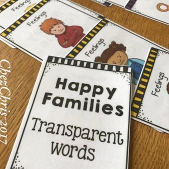 Les jeu des 7 familles en anglais sur les mots transparents