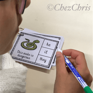 clothespin cards, grammar