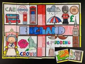 Poster collaboratif sur l'Angleterre. Les différents symboles de l'Angleterre y sont représentés.