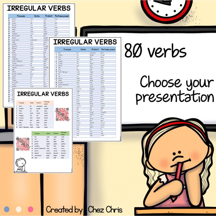 image de couverture de notre ressources sur les verbes irréguliers en anglais.