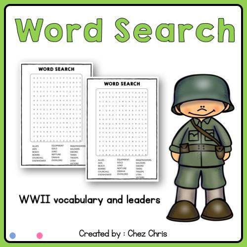 grilles de mots cachés liées à l'étude de la seconde guerre mondiale en cours d'anglais au collège