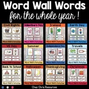 Couverture du bundle de 12 word wall words thématiques