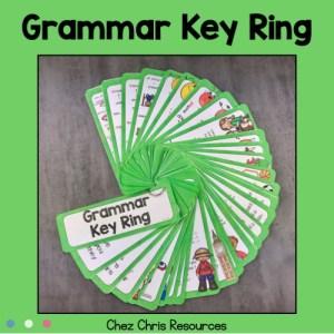 les règles de grammaire anglais dans un porte clé en éventail