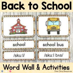 Word Wall Words - Septembre - 20 mots pour la rentrée avec image et prononciation (phonétique)