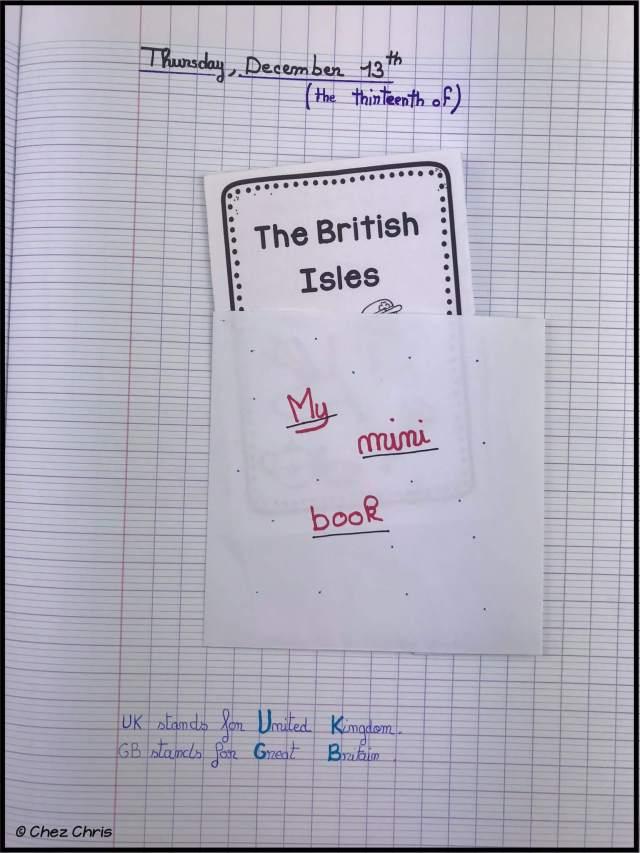 une pochette pour mettre le mini livre dans le cahier d'anglais