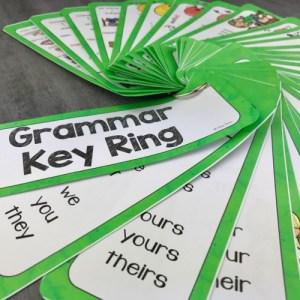 les règles de grammaire anglais dans un porte clé en éventail : 67 cards à assembler