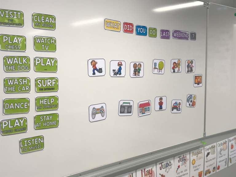 Des étiquettes magnétiques de couleurs, manipulables par les élèves, sont disposées sur le tableau blanc de la salle de classe d'anglais. Elles sont utilisées pour le rituel de début de cours. Les élèves utilisent le prétérit en anglaispour décrire leur week-end en anglais.