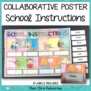 School Instructions Vocabulary Collaborative Poster