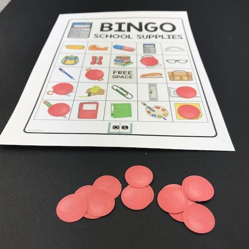 exemple de carton joueur au bingo du matériel scolaire en anglais