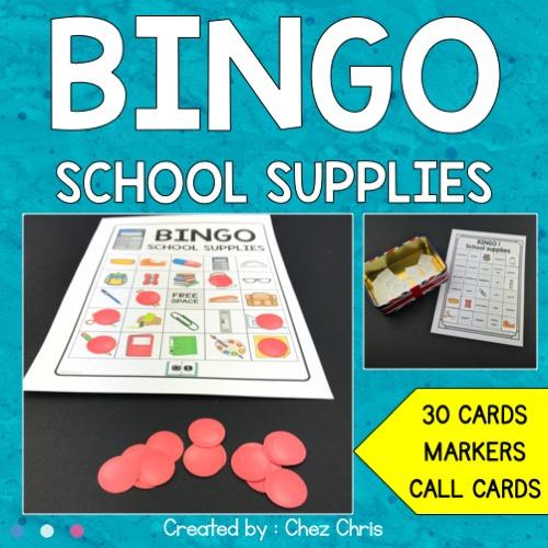 couverture du bingo du matériel scolaire en anglais