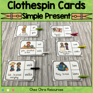 Simple Present Clothespin Clip Cards