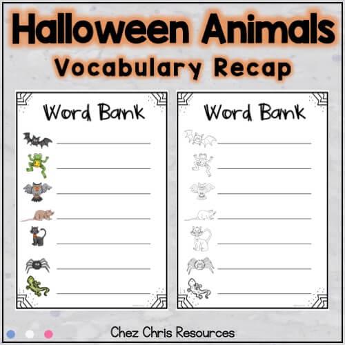 image montrant le vocabulaire utilisé dans la ressource consacrée aux dominos d'Halloween : les animaux