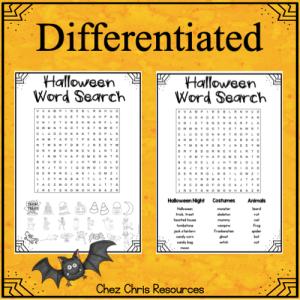 vignette sur les mots cachés d'Halloween et l'option de différenciation possible