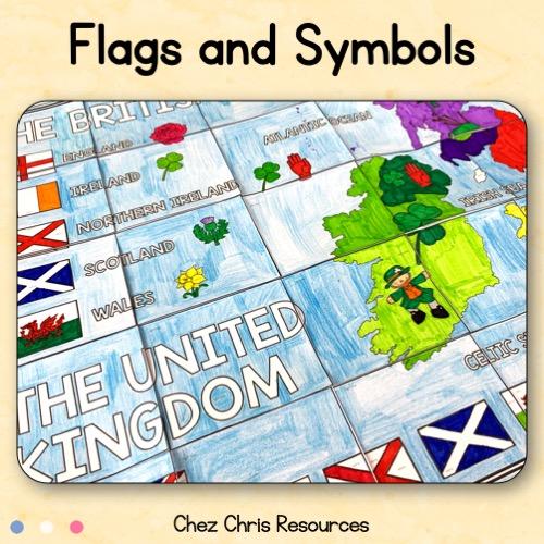 Carte des iles britanniques: les drapeaux et symboles des pays