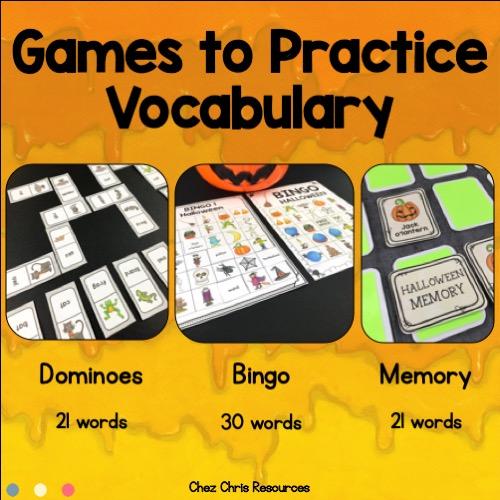 vignette du bundle d'activités consacrées au vocabulaire d'Halloween en anglais