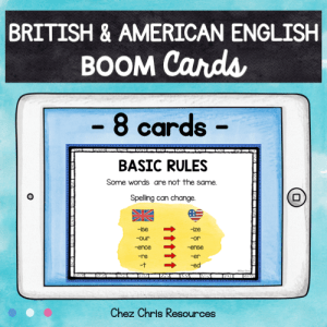 BOOM Cards : British English or American English ? FREEBIE