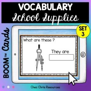 Le matériel scolaire en anglais: les élèves regardent l'image et écrivent le mot correspondant dans la case prévue à cet effet.