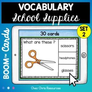 Boom cards sur les fournitures scolaires: les élèves regardent l'image et choisissent le mot correspondant parmi les 3 proposés.