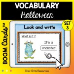 couverture du 3eme set de boom cards dédié au vocabulaire d'Halloween en anglais