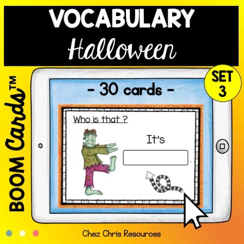 vignette du 3eme set de boom cards dédié au vocabulaire d'Halloween en anglais