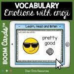 couverture de la ressource sur les émotions en anglais avec les boom cards : lien graphie, phonie, image
