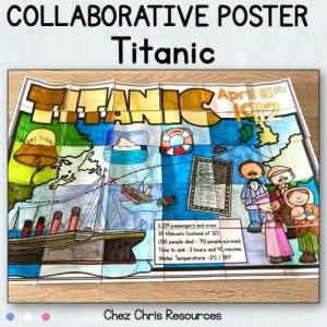 photographie du poster collaboratif sur le Titanic, colorié et assemblé.