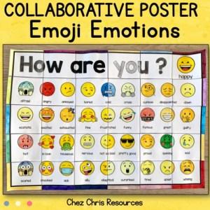 couverture du poster collaboratif émotions utilisant des emojis