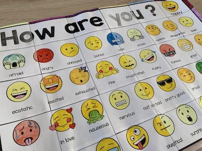 gros plan sur le poster collaboratif sur les émotions