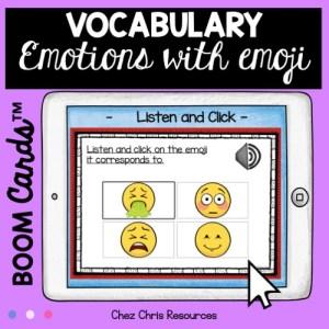 couverture de la ressource boom cards sur les émotions en anglais