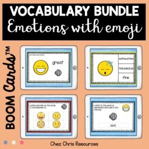 vignette 1 sur les émotions en anglais avec les boom cards