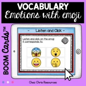 vignette sur les émotions en anglais: activité d'écoute - les élèves sélectionne le smiley correspondant