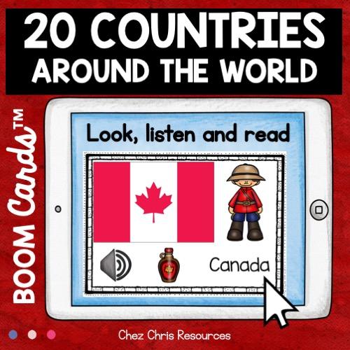 image de couverture sur les pays du monde: phase de découverte des noms des pays avec drapeau en anglais