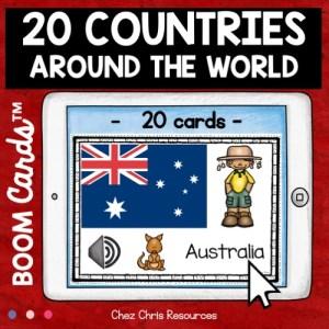 Vignette 1 sur les pays du monde: phase de découverte des noms des pays avec drapeau en anglais