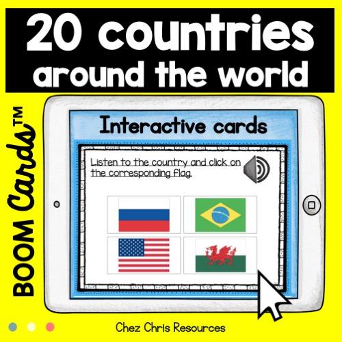 Boom cards: cartes interactive où il faut écouter le pays et choisir le drapeau correspondant