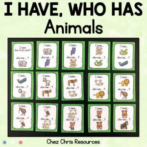 couverture du jeu j'ai qui a sur les animaux en anglais
