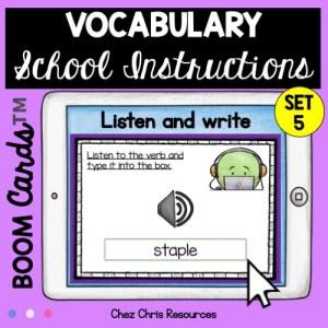 Les consignes de classe en anglais: écouter et écrire les mots ou expressions entendues.