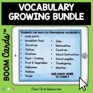 contenu du bundle vocabulaire en anglais en autonomie avec les boom cards