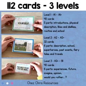 112 cartes pour s'entrainer selon 3 niveaux (code couleur)