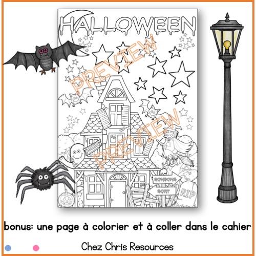 un coloriage à partir du poster collaboratif sur Halloween en français