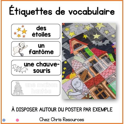 étiquettes de vocabulaire - mots contenu dans le poster collaboratif en français sur Halloween